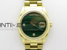 Day date 432118 36mm YG EDF Best Edition Green Malachite Dial Crystal Markers on SS President Bracelet A2836
