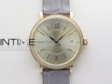 Portofino 37mm RG Diamonds Bezel V7F 1:1 Best Edition Silver Dial on Gray Leather Strap A2892