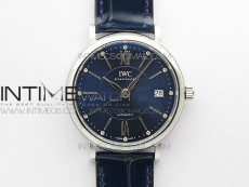 Portofino 37mm SS V7F 1:1 Best Edition Blue Dial on Blue Leather Strap A2892