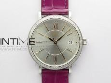 Portofino 37mm SS Diamonds Bezel V7F 1:1 Best Edition Silver Dial on Purple Leather Strap A2892