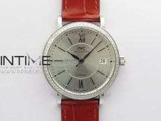 Portofino 37mm SS Diamonds Bezel V7F 1:1 Best Edition Silver Dial Black Handset on Red Leather Strap A2892