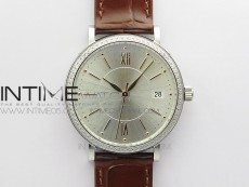 Portofino 37mm SS Diamond Bezel V7F 1:1 Best Edition Silver Dial on Brown Leather Strap A2892