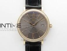Portofino 37mm RG Diamond Bezel V7F 1:1 Best Edition Gray Dial on Black Leather Strap A2892