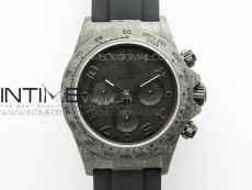 Daytona DIW Carbon OMF Best Edition Black Dial Numbers Markers on Black Rubber Strap A4130