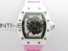 RM055 White Ceramic KVF Best Edition Skeleton Dial on Pink Rubber Strap MIYOTA8215 V3