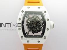RM055 White Ceramic KVF Best Edition Skeleton Dial on Orange Rubber Strap MIYOTA8215 V3