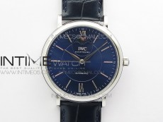 Portofino IW459402 SS MKS 1:1 Best Edition Blue Dial on Blue Leather Strap Miyota 9015