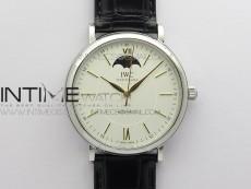 Portofino IW459402 SS MKS 1:1 Best Edition White Dial on Black Leather Strap Miyota 9015