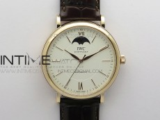 Portofino IW459402 RG MKS 1:1 Best Edition White Dial on Brown Leather Strap Miyota 9015