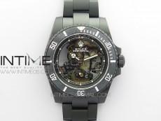 Submariner 116610 Andrea Pirlo DLC ROF Best Edition Carbon Bezel on Skeleton DIal SA3130
