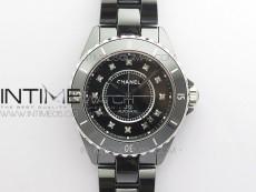 J12 38mm KOR 1:1 Best Edition Black Korea Ceramic Black Dial Crystal Markers on Bracelet Calibre 12.1