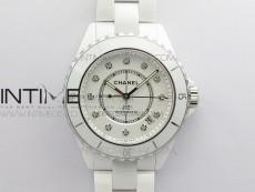 J12 38mm KOR 1:1 Best Edition White Korea Ceramic White Dial Crystal Markers on Bracelet Calibre 12.1