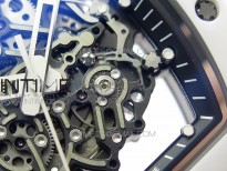 RM055 Ti White Ceramic ZF 1:1 Best Edition Skeleton Dial on White Rubber Strap NH05A