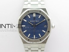 Royal Oak 41mm 15500 SS ZF 1:1 Best Edition Blue Textured Dial on SS Bracelet A4302 V2 (Free Box)