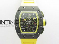 RM12-1 Real Tourbillon Forge Carbon KVF Best Edition Skeleton Dial Yellow inner bezel on Yellow Rubber Strap