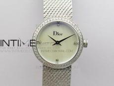 La D de dior Satine SS Case 5055F 1:1 Best Edition MOP White Dial on SS bracelet Swiss Quartz