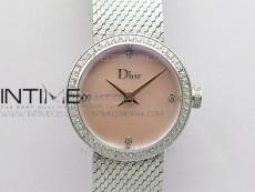 La d de dior satine SS Case 5055F 1:1 Best Edition  Pink MOP Dial on SS bracelet Swiss Quartz