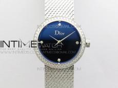 La d de dior satine SS Case 5055F 1:1 Best Edition  Blue Dial on SS bracelet Swiss Quartz