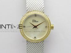La d de dior satine SS/YG Case 5055F 1:1 Best Edition  White MOP Dial on SS bracelet Swiss Quartz