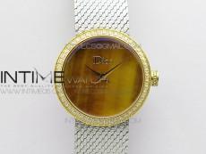 La d de dior statine SS/YG Case 5055F 1:1 Best Edition Tiger eye dial on SS bracelet Swiss Quartz