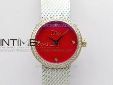 La d de dior satine SS/RG Case 5055F 1:1 Best Edition  Red Dial on SS bracelet Swiss Quartz