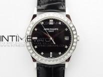 Calatrava 5298P-012 SS T Crystal Bezel ZF 1:1 Best Edition Black Dial on Black Leather Strap A324CS