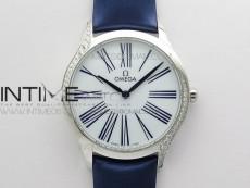 Ladies' De Ville Trésor Diamond Blue Fabric Watch OXF 1:1 Best Edition Swiss Quartz