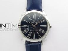 Ladies' De Ville Trésor Diamond OXF 1:1 Best Edition Dark Blue Dial On Swiss Quartz Blue Leather strap.