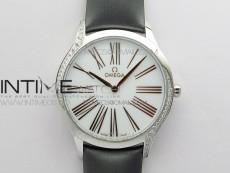 Ladies' De Ville Trésor Diamond Brown Fabric Watch OXF 1:1 Best Edition Swiss Quartz