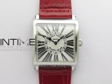 Master Square SS Ladies ZF 1:1 Best Edition White Roman Dial on Red Leather Strap Ronda Quartz