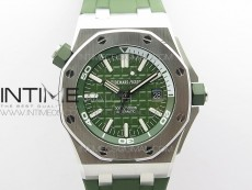 Royal Oak Offshore Diver Green 15710 JF 1:1 Best Edition on Green Rubber Strap A3120