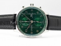 Portuguese IW371615 ZF V3 1:1 Best Edition SS Green Dial on Black Leather Strap A96355