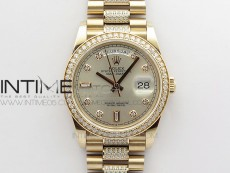 Day-Date 36 128235 RG/Crystal BP Best Edition Silver Crystal Marker Dial on RG President Bracelet A2836