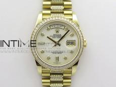 Day-Date 36 128235 YG/Crystal BP Best Edition White MOP Crystal Marker Dial on YG President Bracelet A2836