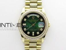 Day-Date 36 128235 YG/Crystal BP Best Edition Green Crystal Marker Dial on YG President Bracelet A2836