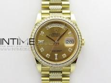 Day-Date 36 128235 YG/Crystal BP Best Edition YG Crystal Marker Dial on YG President Bracelet A2836