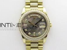 Day-Date 36 128235 YG/Crystal BP Best Edition Gray MOP Crystal Marker Dial on YG President Bracelet A2836