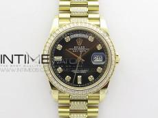 Day-Date 36 128235 YG/Crystal BP Best Edition Black Crystal Marker Dial on YG President Bracelet A2836