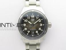Autavia WBE5116 42mm SS KOR 1:1 Best Edition Black Ceramic bezel Gray Dial on SS Bracelet SW200 (Free Nylon and Leather Strap)