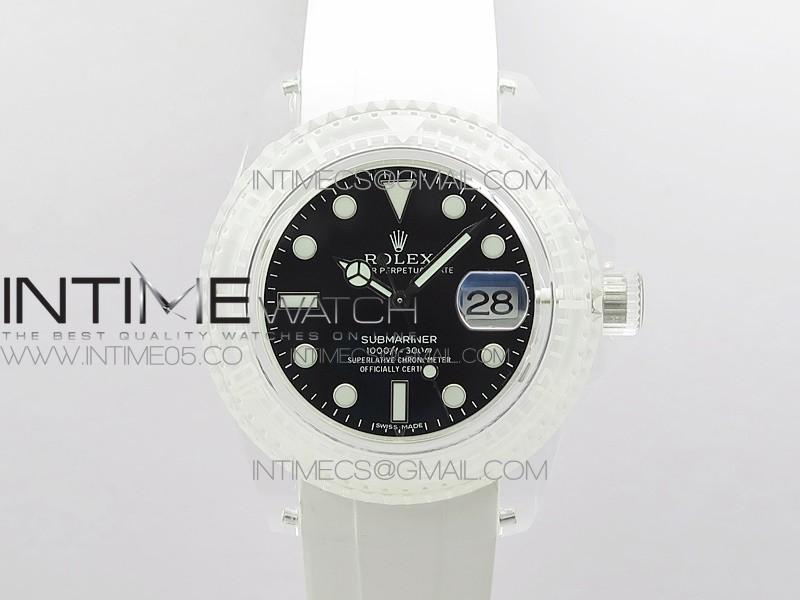 Submariner Phantomlab Transparent 5GF Best Edition Black Dial on White Rubber Strap VR3135