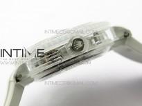 Submariner Phantomlab Transparent 3AF Best Edition Black Dial on White Rubber Strap VR3135