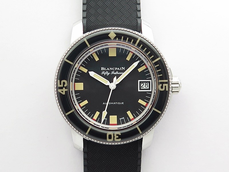 Fifty Fathoms 5008B 40mm SS 1:1 ZF Best Edition Black Dial on Black Rubber Strap A1151