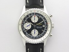 Navitimer 41mm SS B50 Best Edition SS Black Dial Stick Markers on Black Leather Strap A7750