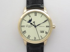 Excellence Panorama Date Moon Phase RG GLF 1:1 Best Edition White Dial on Black Leather Strap A100