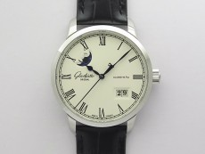 Excellence Panorama Date Moon Phase SS GLF 1:1 Best Edition White Dial on Black Leather Strap A100
