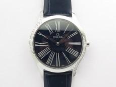 Ladies' De Ville Trésor Diamond SS 3AF 1:1 Best Edition Black Dial On Black Leather Strap Swiss Quartz