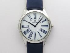 Ladies' De Ville Trésor Diamond SS 3AF 1:1 Best Edition White Dial On Blue Fabric Strap Swiss Quartz