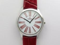 Ladies' De Ville Trésor Diamond SS 3AF 1:1 Best Edition White Dial On Red Leather Strap Swiss Quartz