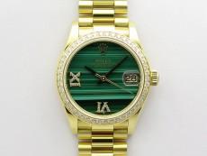 Daydate 278288 31mm Crystal Bezel YG EWF Best Edition Green Malachite Dial Crystal Markers on YG President Bracelet ETA2688