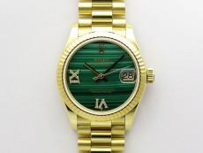 Daydate 278288 31mm YG EWF Best Edition Green Malachite Dial Crystal Markers on YG President Bracelet ETA2688
